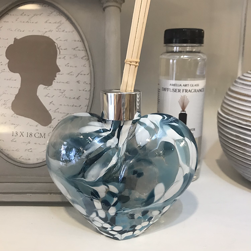 Blue Glass Heart Fragrance Diffuser Close-Up