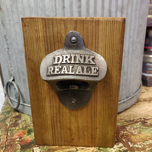 Drink Real Ale Bottle Opener Wooden Block