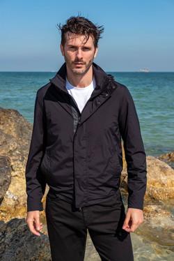 Black travel summer jacket for men