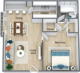 Wymore Grove Apts - Efficiency 530 sf -