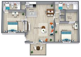 2 Bed 2 Bath - 818 sq ft.png