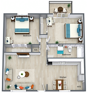2 Bed 1 Bath Downstairs - 707.png