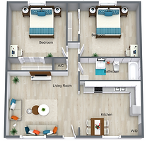 2 Bed 1 Bath Upstairs - 707 sq ft.png