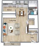 Wymore Grove - Studio 495 Sf Floor Plan.
