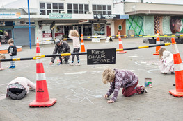 Kids chalking activity in the town centre.
