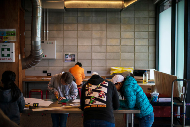 An art workshop for young people at Te Oro.
