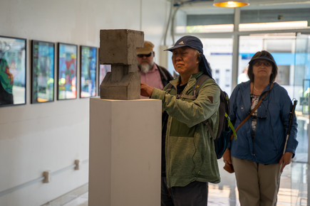 An accessible art gallery tour at The Good The Bad Gallery for our blind and low vision community.