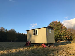 Luxurious glamping accommodation in our newly refurbished Shepherd's Hut at The Walled Garden, Hertfordshire