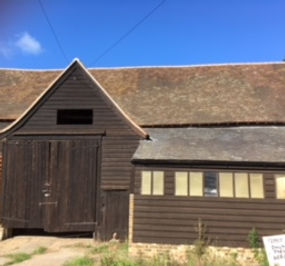 The beautiful listed hay barn near The Walled Garden, Stanstead Bury Farm, available for bookings.
