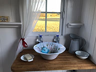 Interior of our newly refurbished Shepherd's Hut at The Walled Garden, Hertfordshire