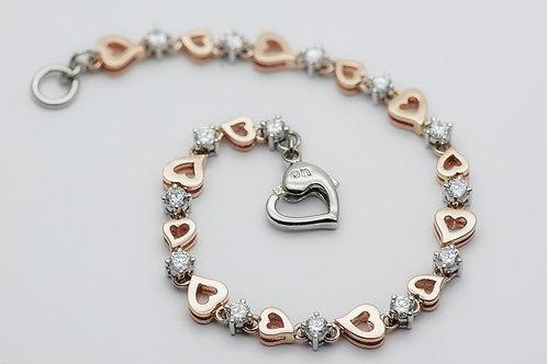 14K Cubic Zirconia Silver Bracelet