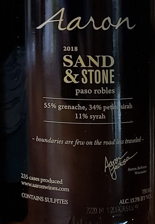 Aaron Sand & Stone, Paso Robles 2018