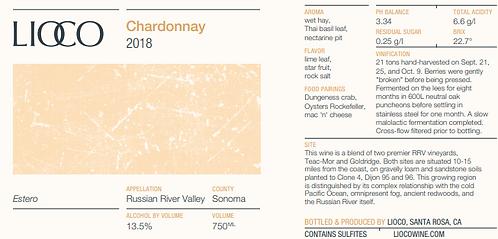 Lioco Chardonnay, Estero, Russian River Valley 2018