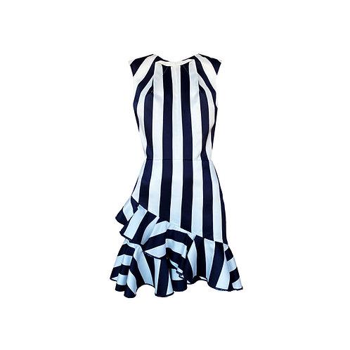 Adriane Striped Frilled Dress