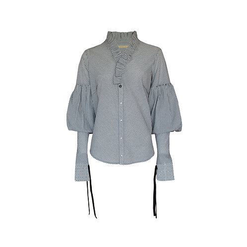 Grey Frilled Bouffant Stripe Top