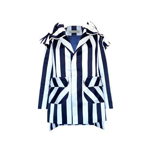 Stripe Frilled Sleeve Blazer Dress