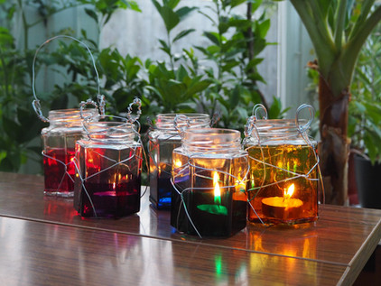 DIY Stained Recycled Glass Jar Lanterns