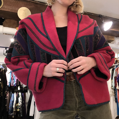 Electric Pink Wool Bomber