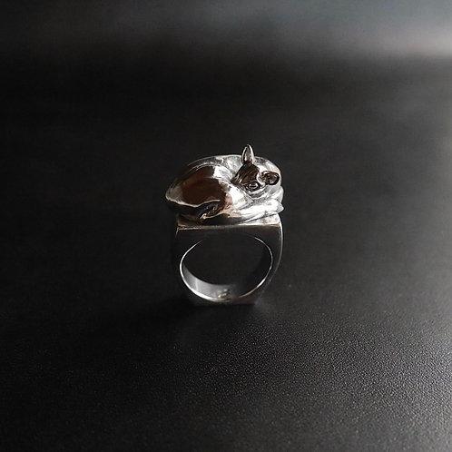 Silver 950 Ring / Patient Deer