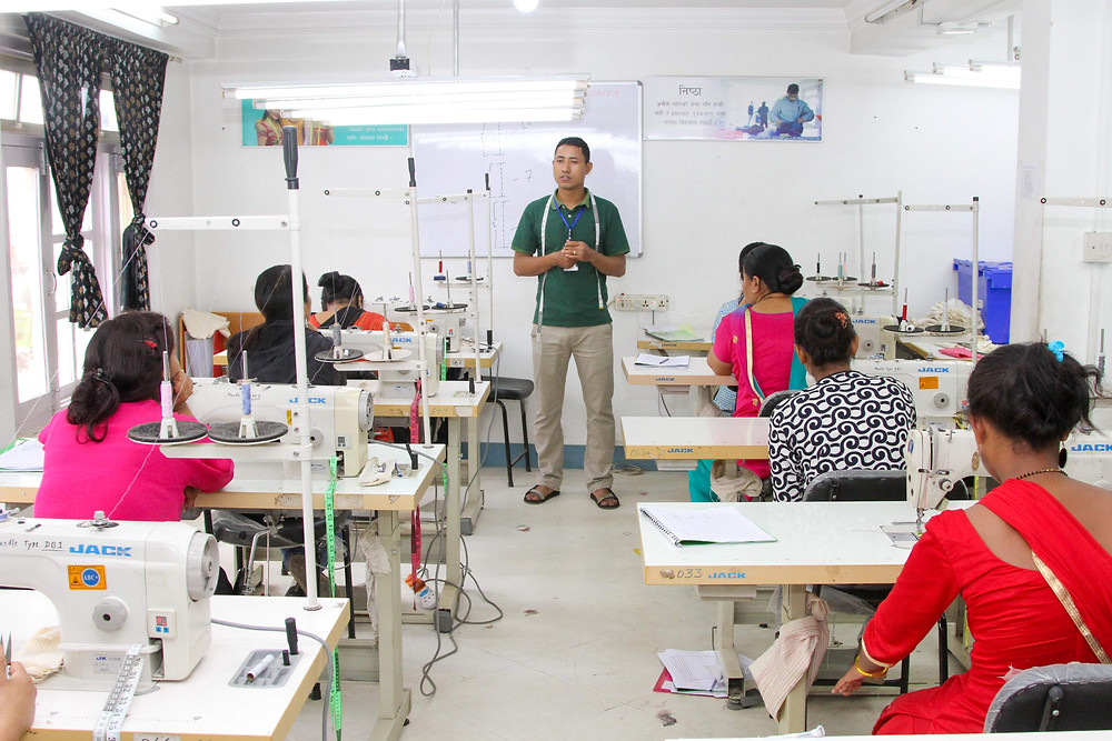 Manufacturing training, sewing training at Purnaa