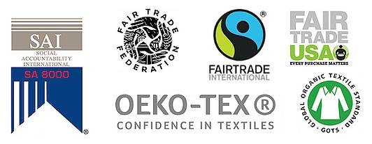 Sustainability-Fairtrade-Logos OEKO-TEX GOTS