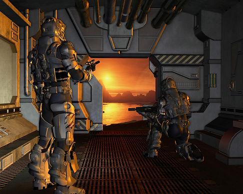 Soldat du futur prêts à débarquer de leur astronef.