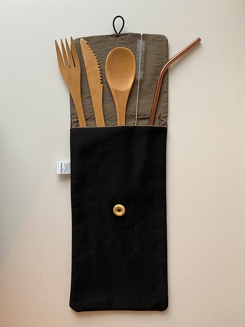 Canvas pouch with reusable Bamboo cutlery set