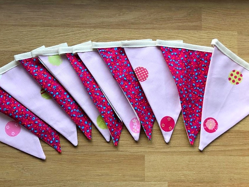 Banner Bunting - reversible Rosy