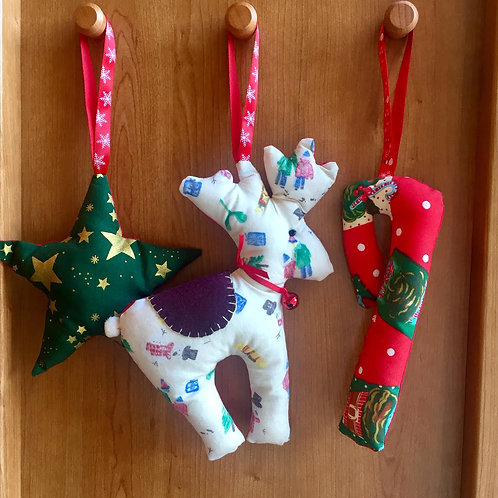 Set of hanging Christmas decorations