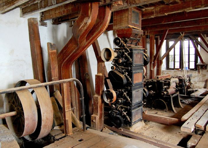 The historical mill machinery located with Casa Ducal