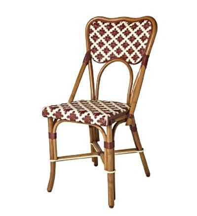 Bistro chair, Burgundy & cream, light honey rattan.