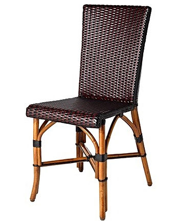 Bistro chair, black & red, light honey rattan finish, handmade.