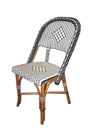 Bistro chair, black & ivory, light honey rattan finish.