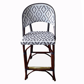 FRENCH BISTRO STOOL WH-141 WEAVE: LOZENGE