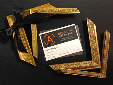 Gift Certificates for custom picture framing t Axel's Gallery & Frame Shop