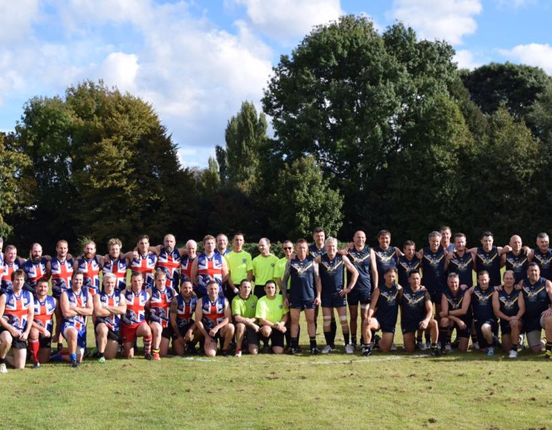 england aus teams post game joint photo.