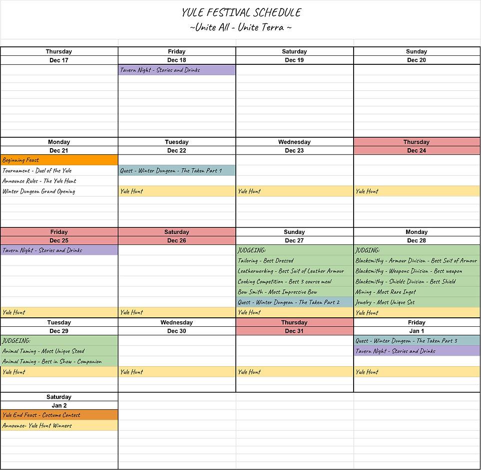 Yule Festival 2020 - Working Shedule - S