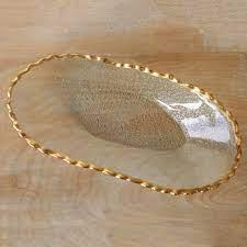 Gold Trim Glass Platter