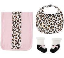 Leopard Sock, Bib and Burp Set