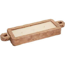 Rectangle Wood Bowl Candle