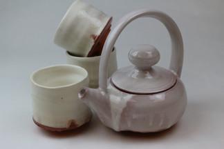 """Tea Set"" Red Earthenware, Cone 04 Glazes, 2019"