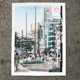 """""""Sugamo, 2019"""" Watercolor, 2020"""