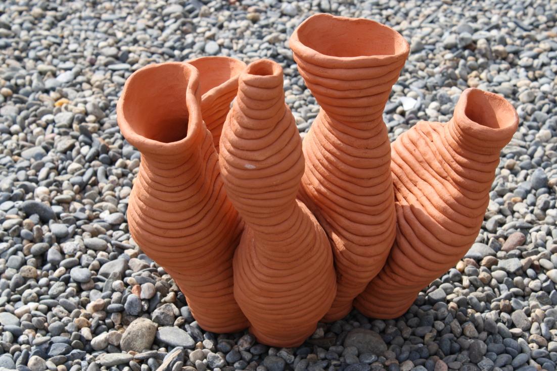 Vase 5 tubes en colombin