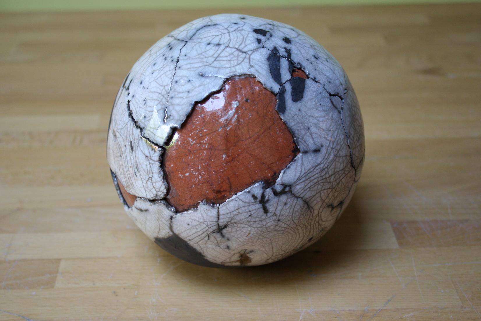 sphère bicolore raku