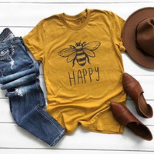 Bee Happy Yellow Gold T-Shirt. Spring, Summer, Sizes M, L and XL