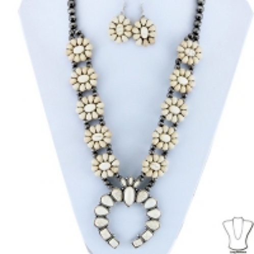 Squash Blossom Flower Burst, White and Silver with Gray Beads and Earrings Set,