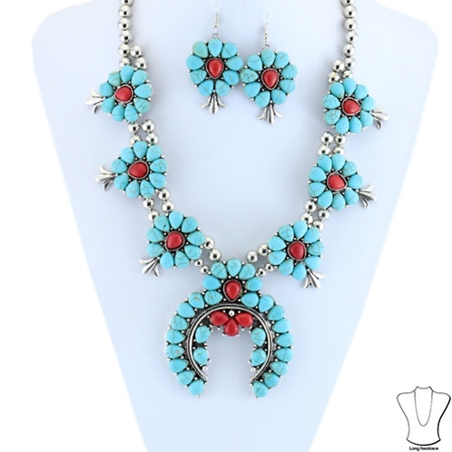 Red and Turquoise Squash Blossom Necklace and Earrings Set.