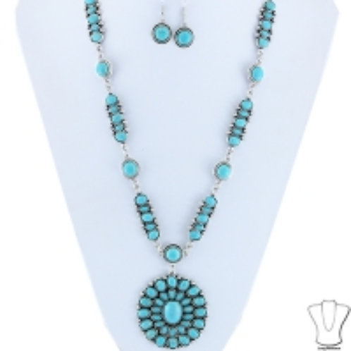 Turquoise and silver Round Pendent Necklace and Earrings Set., Native, Boho, Sou