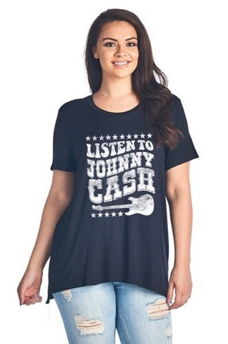 Black Listen to Johnny Cash T-shirt, Unisex, Plus Size