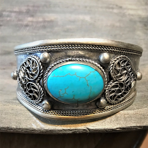 """Tibetan Silver and Turquoise  Cuff Bracelet. Wide 1 1/2"""""""